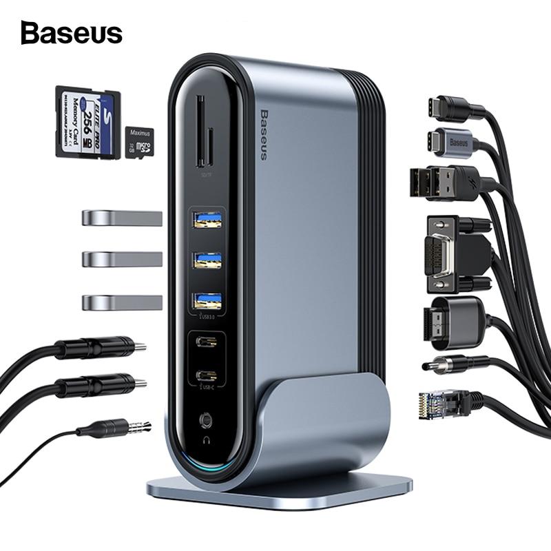 HUB USB C Baseus Type C vers Multi HDMI USB 3.0 avec adaptateur secteur Station d'accueil pour MacBook Pro RJ45 Ports USB OTG HUB USB