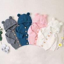Вязаный детский свитер; коллекция года; зимний Кардиган для новорожденных; свитера для маленьких мальчиков; куртки с капюшоном на пуговицах; осеннее пальто для маленьких девочек
