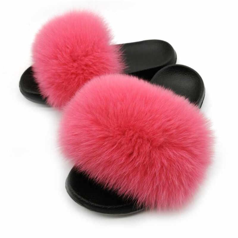2020 النساء فروي النعال السيدات لطيف أفخم الثعلب الشعر رقيق الصنادل المرأة نِعال من الفراء الشتاء نعال تدفئة النساء الأحذية