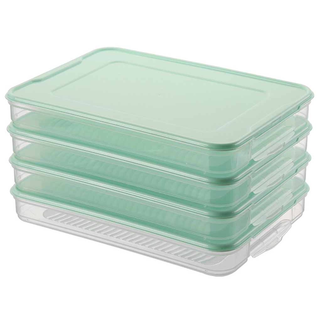 Kitchen Food Organizer Plastic Dumpling Storage Box Transparent Refrigerator Food Container Holder