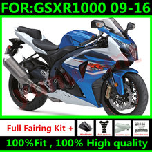 Nuevas motocicletas carenados kit de para Suzuki GSXR1000 K9 2009 2016 GSXR-1000 09 10 11 12 13 14 15 16 carenado de carrocería azul blanco