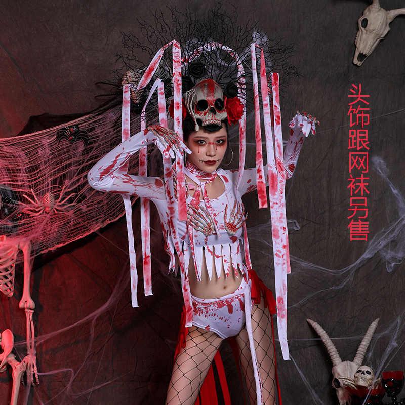 Halloween Bar Stage Kostuums Sexy Gogo Rave Kleding Zombie Jurk Nachtclub Horror Ghost Festival Bloed Pak Party Wear DT1603