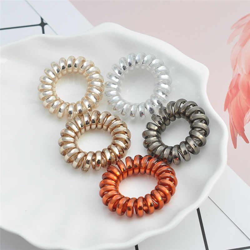 1/5 pçs elásticos faixas de cabelo meninas faixa de borracha corda de cabelo forma espiral laços de cabelo goma telefone fio acessórios de estilo de cabelo