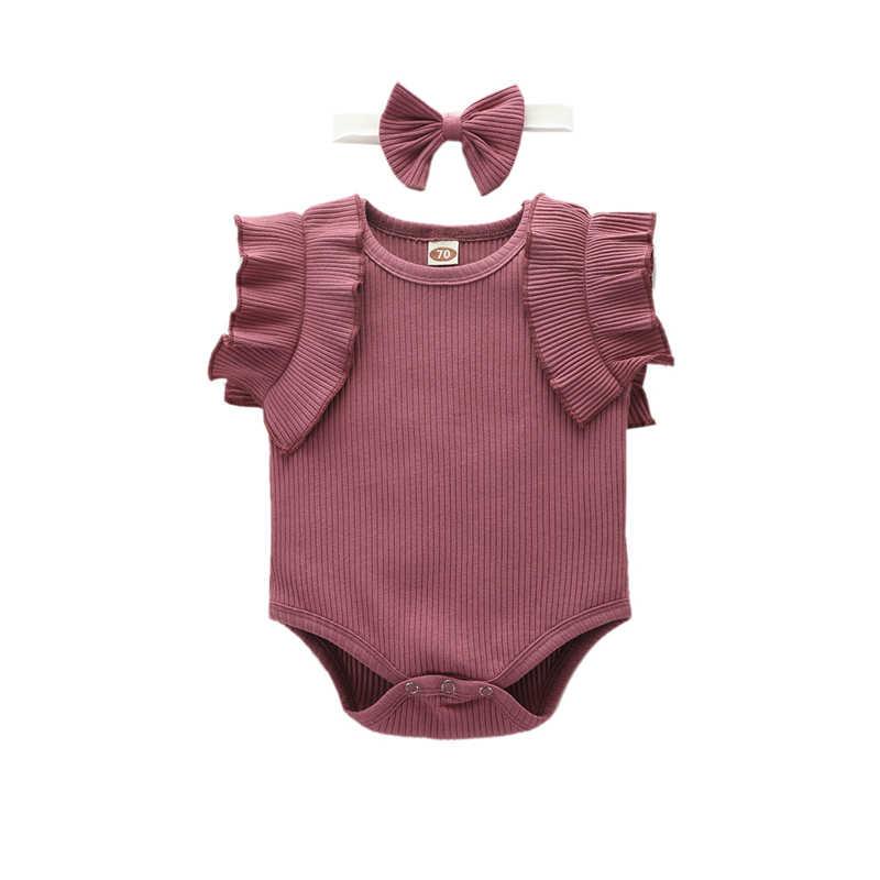 신생아 귀여운 아기 소년 소녀 rompers 코튼 조끼 플라이 슬리브 삼각형 여름 jumpsuits 나무 귀 공주 의류