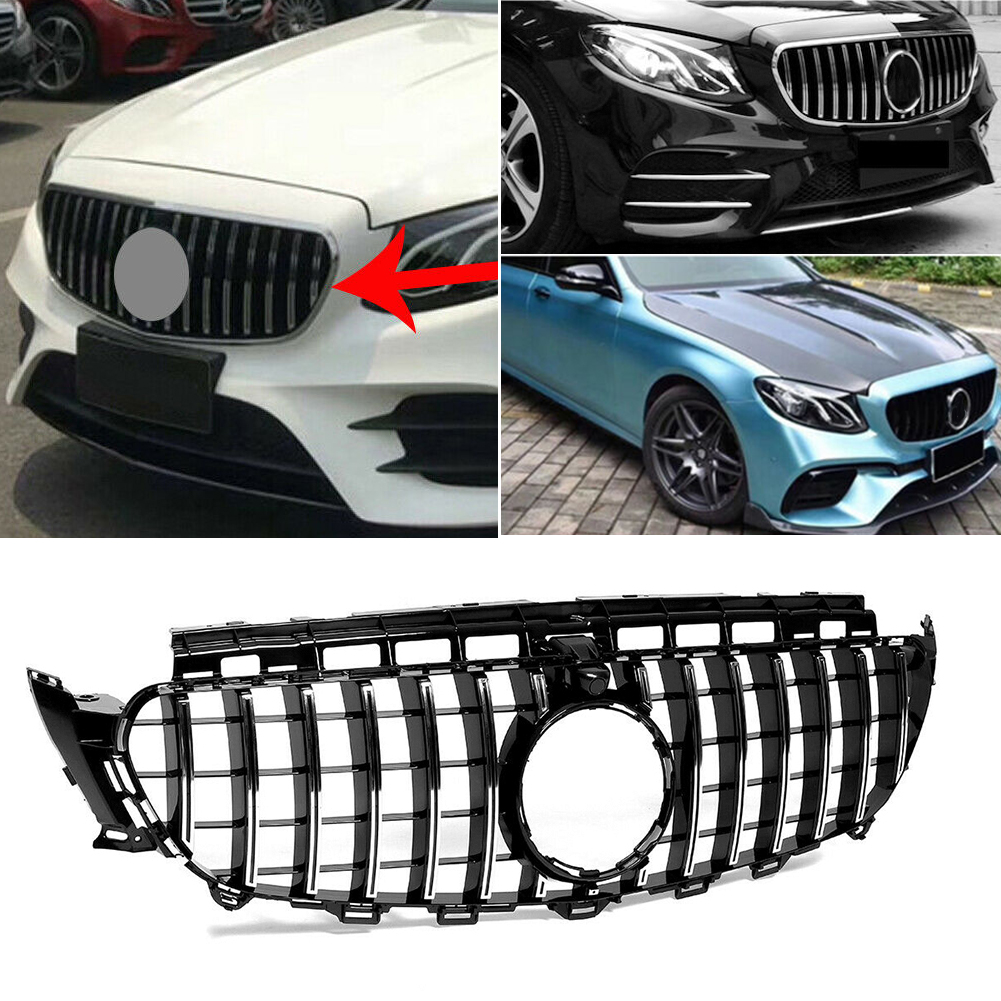 Car Front Grille Upper Mesh AMG Styling Grill For Mercedes-Benz W213 E Class E250 E300 salon w/ Camera Model 2016 2017 2018 2019 image