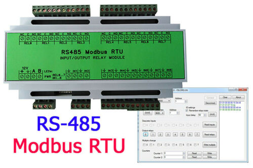 DIN Rail, 3 channel relay + 2 inputs, 2 counters RS485 Modbus RTU Relay