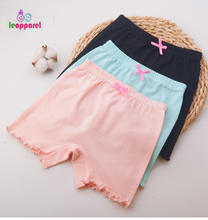 LEAPPAREL Girls Bottom Pants Solid Short Leggings Elastic Waist Cotton Autumn Kids Soft Trousers