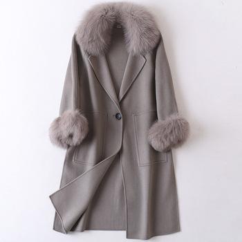 2020 kobiet Plus rozmiar jesień zima Cassic prosta wełna bardzo długi płaszcz suknia damska odzież wierzchnia manteau femme tanie i dobre opinie CASHMERE Z wełny REGULAR Osób w wieku 18-35 lat Szalik kołnierz Pojedyncze piersi Pełna Wełna mieszanki WOMEN Uciekają