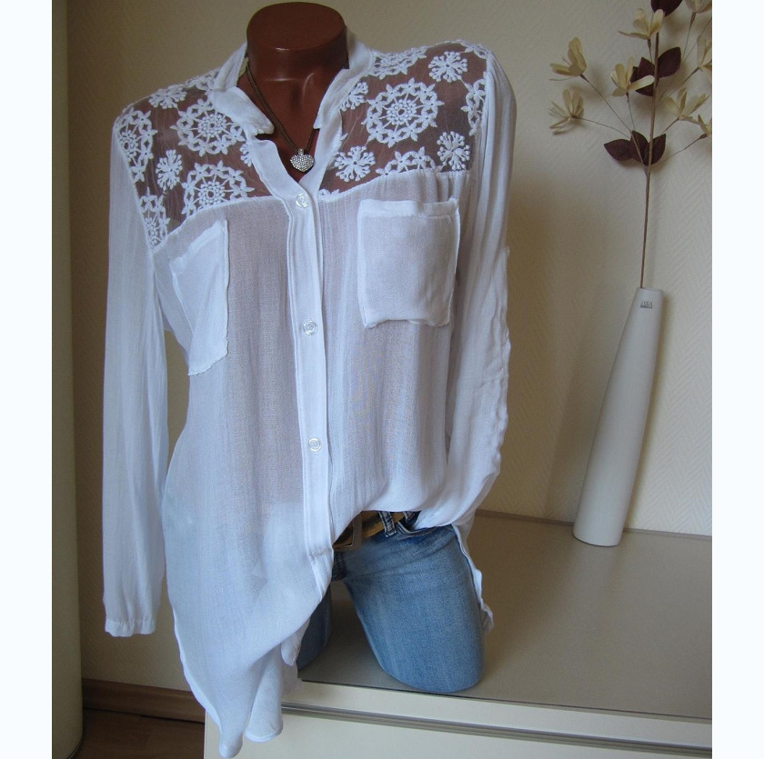 Aprmhisy Hot New Fashion Summer Tops Blouses Women Elegant Hollow Out Flower Pockets Shirts Blusas Feminina 4