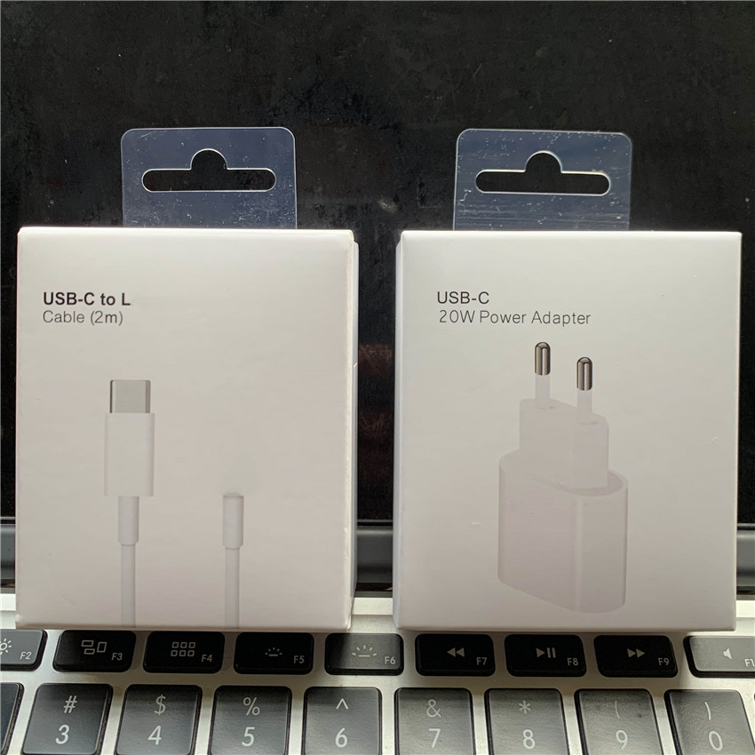 Original Box 20W Charger For iPhone 12 Pro Max USB-C C2L Fast charger USB C Power Adapter Type C QC4.0 for Apple 2M Cable 11 XS