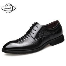 Модельные мужские туфли с рифленой подошвой; сезон весна-осень; мужские кожаные туфли на шнуровке; острый носок Бизнес обувь с перфорацией типа «броги» из натуральной кожаная мужская обувь h146