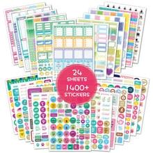 1400PCS Planner adesivi Pack Scrapbooking Bullet Journal Supplies diario adesivi per notebook diario decorazione adesivi per ufficio Studio Lavoro Piano settimanale Agenda Sticker Alfabeto Etichetta Stationery Stickers
