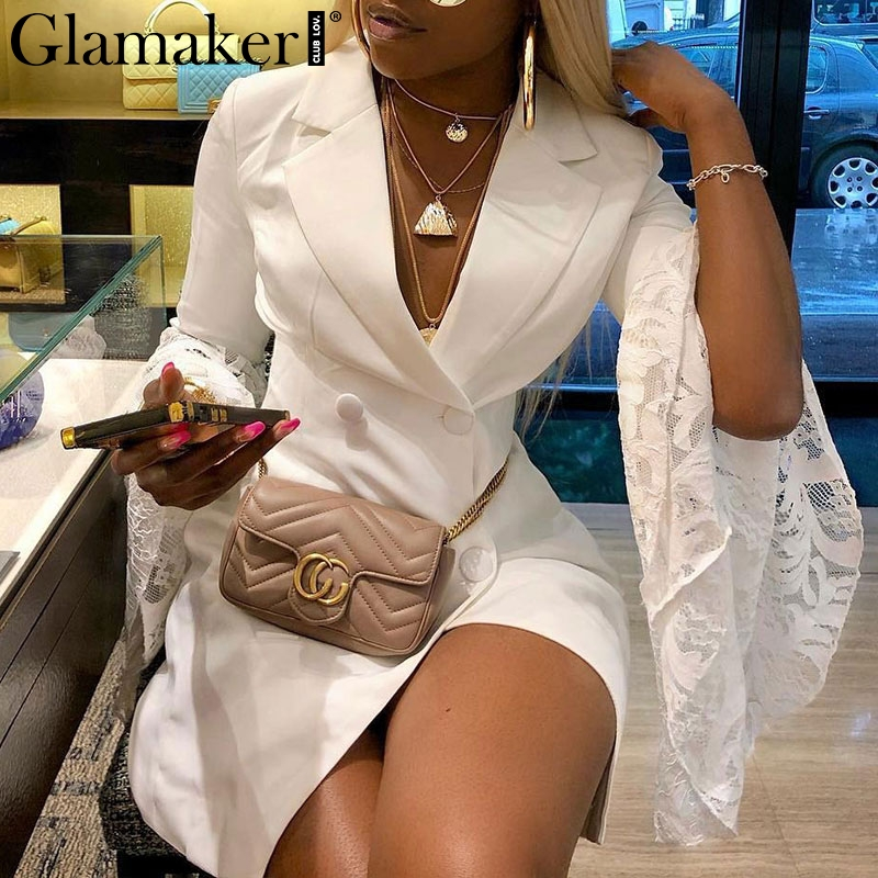 Glamaker Sexy lace patchwork blazer dress women Retro flare sleeve white dress Club party autumn short dress elegant vestidos