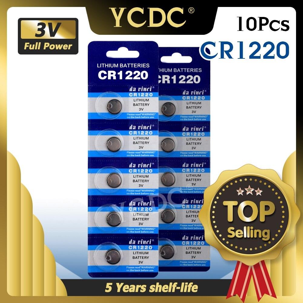 YCDC 10 шт. 3 в вольт CR1220 CR 1220 кнопочные батарейки, литиевые пилы для игрушек, калькулятор, часы DL1220 BR1220 ECR1220
