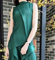 Pleated Suit Summer New Style Pleated Irregular Top Loose Big Swing Leg Pants Women Clothing Set