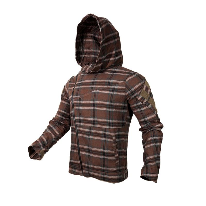 2019 New Brown Slanted Zipper Assassin Hoodie  Tactical Plaid Jacket Woman Jacket