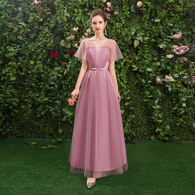 Wedding Guest Elegant Women Plus Size Pink Bridesmaid Dresses Tulle A-Line Sexy Dress Sister Club Party Formal Simple Long Prom