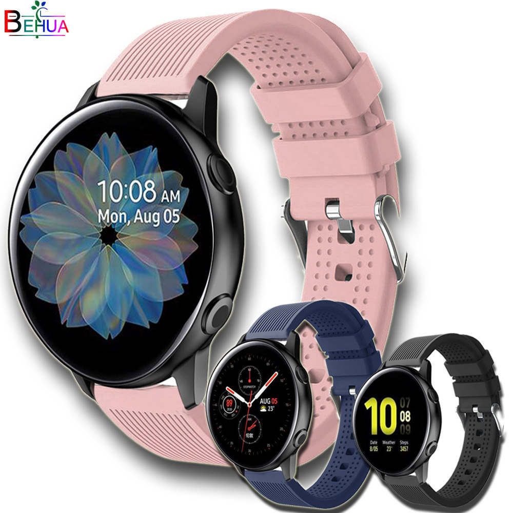 20mm Sport Silicone Watchband For Samsung Galaxy Watch Active 2 40mm 44mm Smart Watchstrap Replacement Wristband For Amazfit GTS