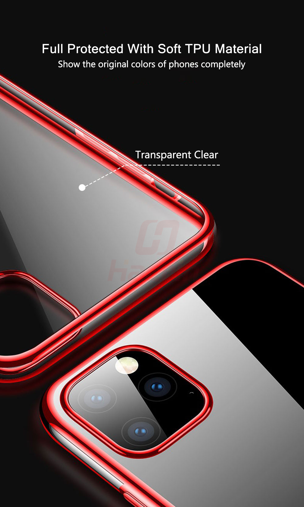 Hacrin Transparent TPU Silicone Case for iPhone 11/11 Pro/11 Pro Max 9