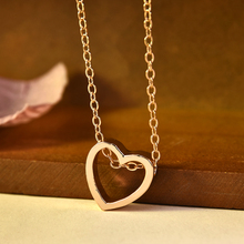 2019 Fashion Women Heart Stainless Steel Chain Pendant Charm Necklace Jewelry Long Necklace Statement Necklace