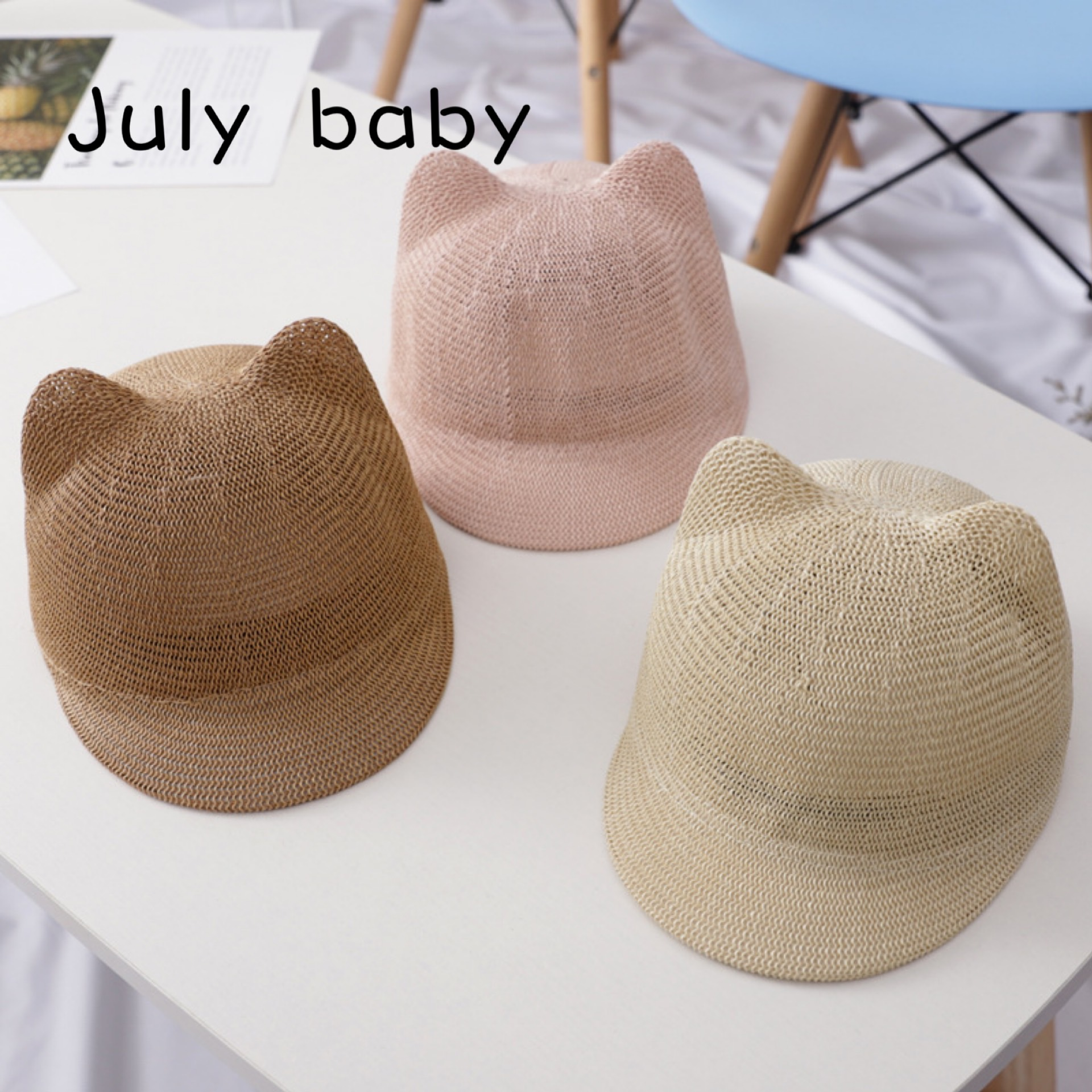 July Baby Children's Hat Male Korean Version Summer Baby Cap Girl Sunscreen Hat Travel Sunscreen Sunscreen Hat Breathable Straw