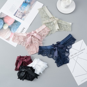 Sexy Lace String Transparent Panties Women Bow Thong Low Waist Underwear Female Fashion Hollow Out 3 Styles Mix G String