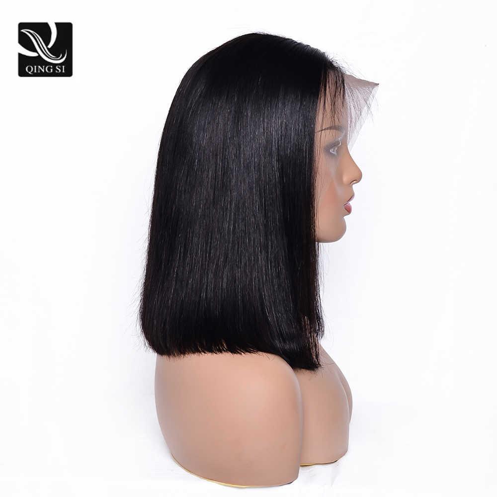 Perucas de cabelo curto bob cabelo virgem brasileiro em linha reta frente do laço perucas de cabelo humano remy para preto feminino 13x4 parte do laço 150% densidade