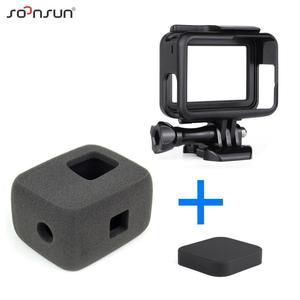 Image 1 - SOONSUN Wind Noise Reduce Foam Cover Windshield Sponge + Frame Mount + Camera Lens Cap for GoPro Hero 7/6/5 Go Pro Accessory Kit