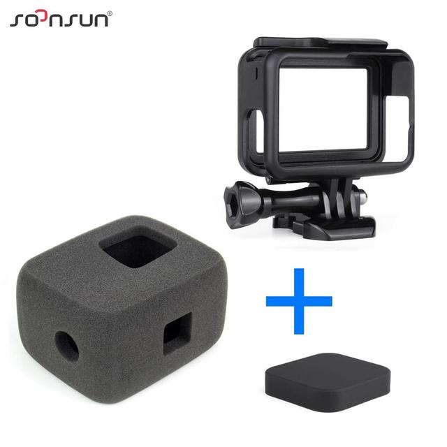 SOONSUN Wind Noise Reduce Foam Cover Windshield Sponge + Frame Mount + Camera Lens Cap for GoPro Hero 7/6/5 Go Pro Accessory Kit