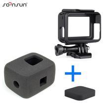 SOONSUN funda de espuma con reducción de ruido para GoPro Hero 7/6/5 Go Pro, esponja para parabrisas, montura de marco y tapa de lente de cámara