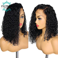 13x6 Curly Lace Front Wig Short Bob Human Hair Wigs With Baby Hair Brazilian Remy Hair Bleached Knots For Women FlowerSeason