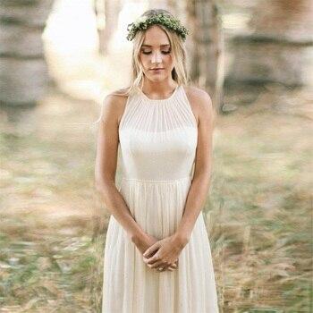 NUOXIFANG Simple Beach Wedding Dress Chiffon Cheap Party Dress Sweep-floor A-line Boho Vestido Novia Wedding Gown Bridal Dresses фото