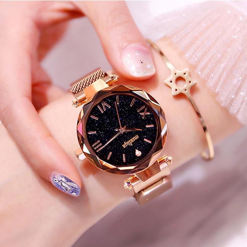 Luxury Women Starry Sky Watches New Female Rose Gold Magnetic Clock Quartz Watch Fashion Ladies Dress Wristwatch Zegarki Damskie