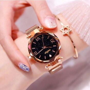цена на Luxury Women Starry Sky Watches New Female Rose Gold Magnetic Clock Quartz Watch Fashion Ladies Dress Wristwatch zegarki damskie
