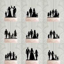 Персонализированные силуэт свадебный торт Топпер, пользовательские семья торт Топпер, Жених невесты с детьми, Mr & Mrs юбилей вечерние Декор