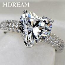 Серебряное кольцо с 3 каратами AAA циркон для женщин Свадебная мода сердце стиль кольца ювелирные изделия 7 8 9 10 LSR048