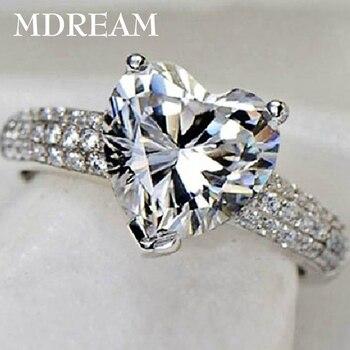 Женское кольцо с фианитом в виде сердца, серебряное кольцо с 3 каратами ААА для свадьбы, 7, 8, 9, 10, LSR048