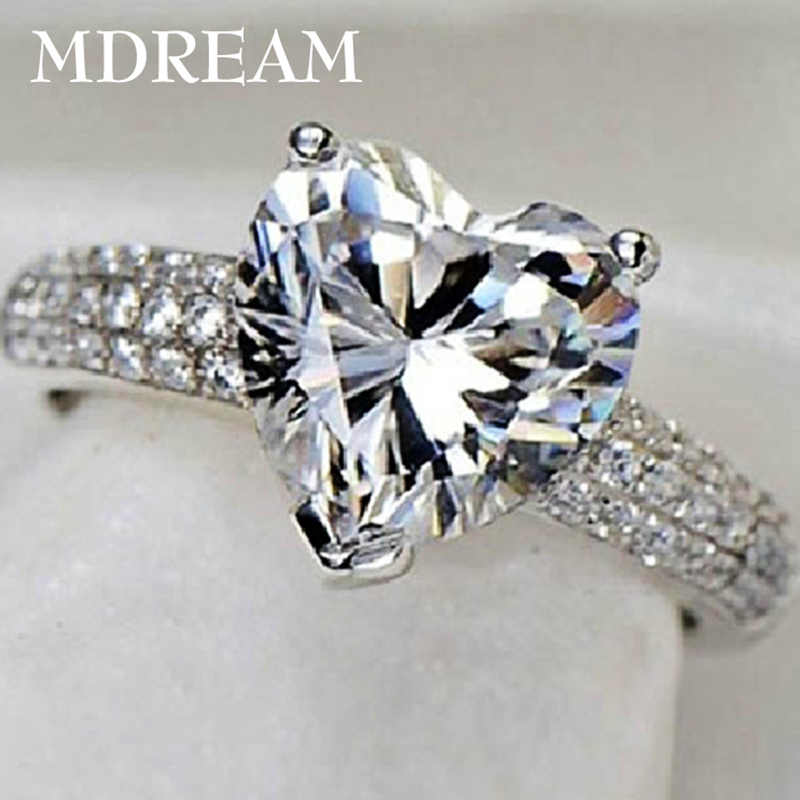 Silver Color Ring With 3 Carat Aaa Zircon For Women Wedding