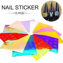 13 PCS Holographic Fire Flame Nail Vinyls Stencil Hollow Stickers Fires On Manicure Stencil Stickers Nail Art Decoration 2 sheets fire nail vinyls stencil hollow stickers fires on manicure stencil stickers nail art decoration