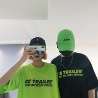 Summer South Korea INS Harajuku BF Style Street Versatile Fluorescence Green Printed Letter Loose Fit Men And Women Couples Shor