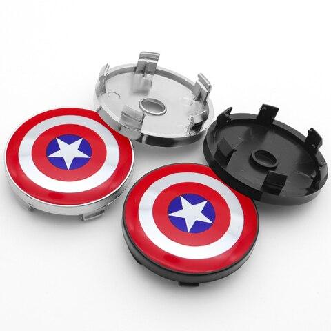 Captain America Shield logo 4pcs 60mm emblem Wheel Center Hub Caps Badge covers car styling auto accessories Lahore
