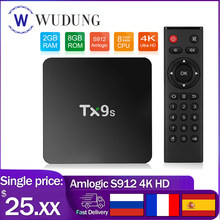 Caixa de tv android tx9s amlogic s912 octa núcleo 2gb ram 8gb rom 2.4g wifi 4k definir caixa superior ondersteuning youtube google playstore