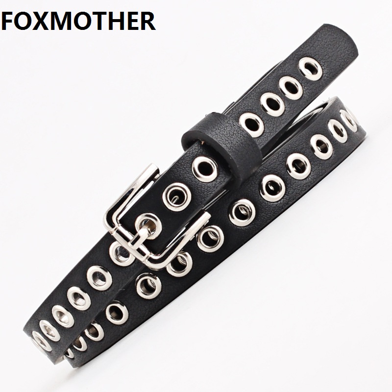 FOXMOTHER 1.4cm Wide Black White Grommet Narrow PU Leather Women Belt Eyelet Female Waistband Jeans Belts