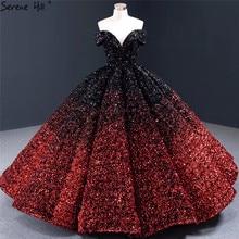 두바이 인디고 블루 골드 럭셔리 웨딩 드레스 2020 Sequined 민소매 점진적 변화 신부 가운 HA2305 맞춤 제작