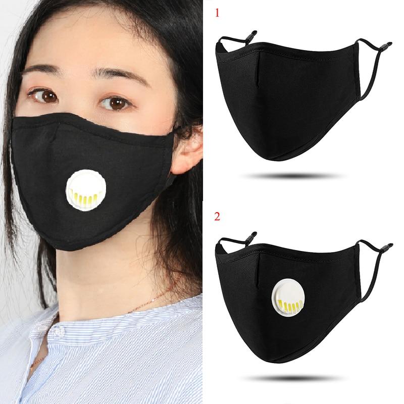 1Pcs Fashion Unisex Mouth Mask Cotton Breath Valve Anti-Dust Anti Pollution Mask Cloth Filter Respirator Face Mask