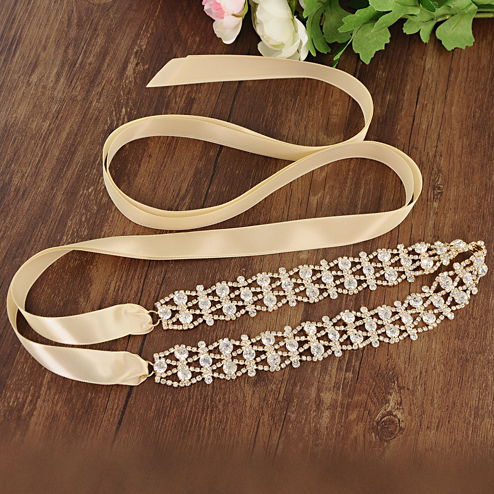 TRiXY S414-G Stunning Gold Wedding Belt Crystal Bridal Sash Diamond Belt Bridal Belt Handmade Rhinestone Bridal Belt Bridal Sash