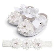 Infant Baby Girl Shoes Beaded Lace Flowers Headband Anti-Sli