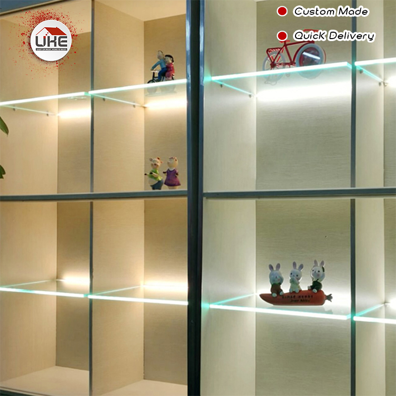 UKE Home Decoration 8mm Glass Shelf Brackets Light LED Glass Cabinet With Led Custom Cabinet Lighting
