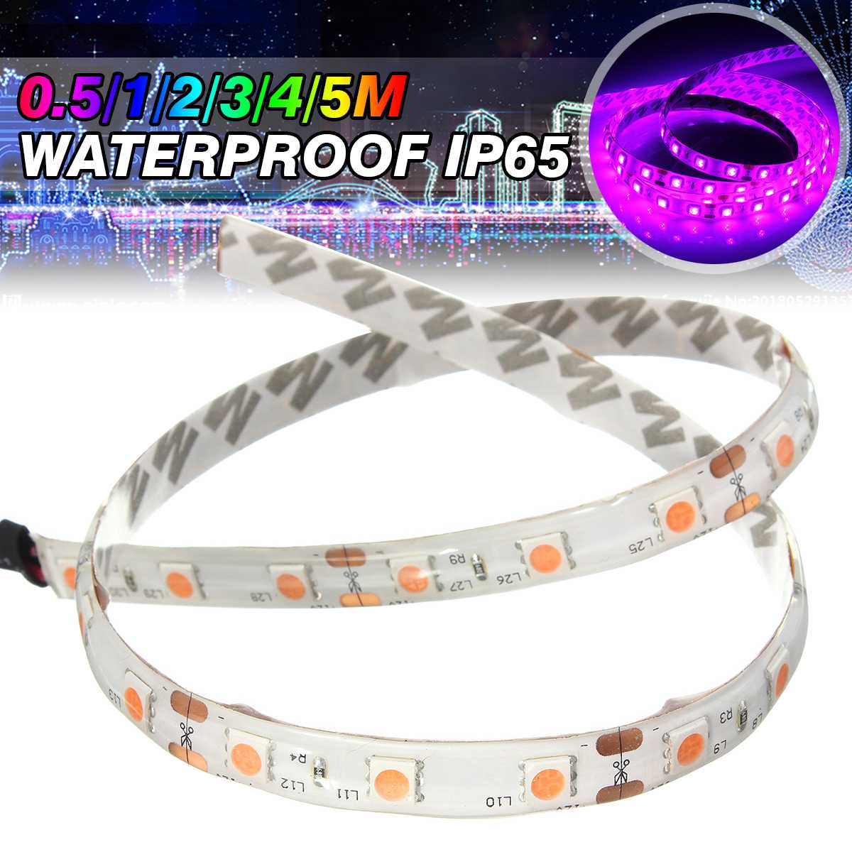 0.5/1/2/3/4/5M UV Lamp Ultraviolet Purple Led Strip Light 12V DC 5050 SMD Black LED Lamp 395-405nm Strip Light Waterproof IP65