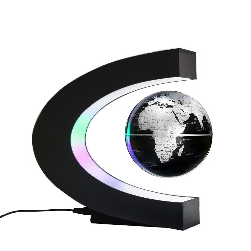 C Shape Magnetic Levitation Floating Globe Map World Map With LED Light Kids Gift Teaching Equipment Home Office Desk Decoration